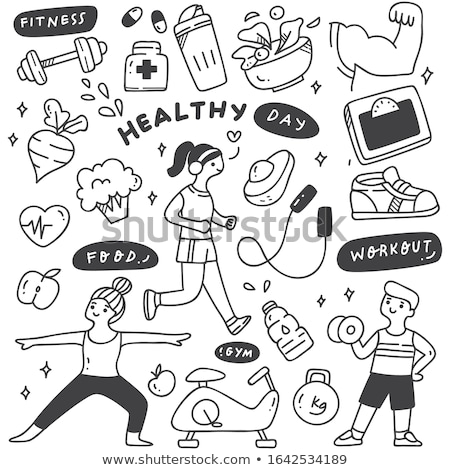 treadmill and broccoli set vector illustration stock photo © robuart
