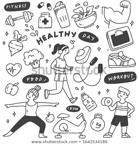 Stock photo: Treadmill and Broccoli Set Vector Illustration
