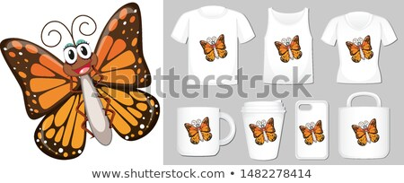 Graphic of butterfly on different types of product template Stock photo © bluering