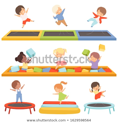 Cute little boy on a trampoline in a trampoline center Stock photo © galitskaya