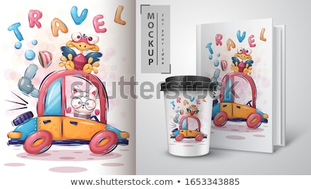 Cute animals illustration poster and merchandising. Stock photo © rwgusev