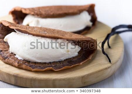 Chocolate chantilly coquetel cereja queijo vermelho Foto stock © Alex9500