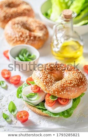 Finom reggeli házi készítésű friss joghurt mandulák Stock fotó © Peteer