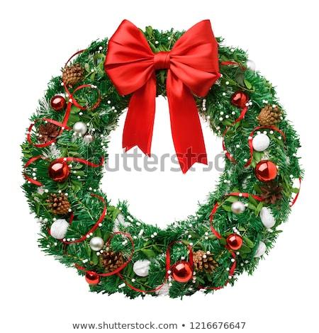 Stok fotoğraf: Noel · çelenk · yalıtılmış · beyaz · dizayn · kış