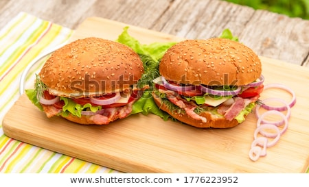 Burger with Bun and Lettuce Meat and Greenery Stock photo © robuart