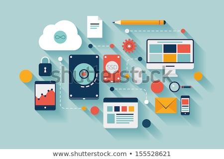 Icons vector illustration of multimedia symbols Stock photo © nosik