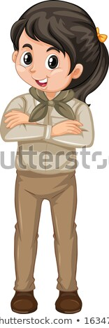 Girl in safari outfit standing on white background Stock photo © bluering