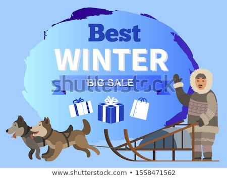 Best Winter Big Sale Promotional Poster with Eskimo Stock photo © robuart