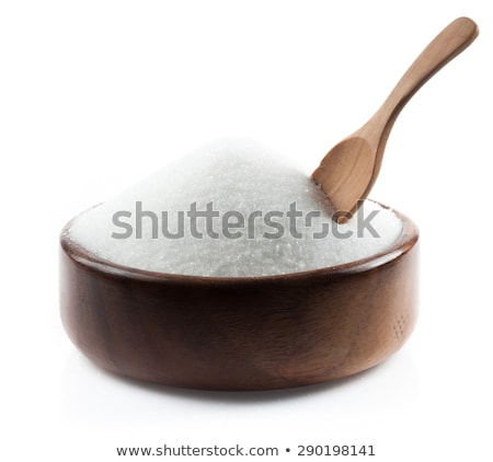 Wooden bowl of natural white refined sugar on white background. Stock photo © DenisMArt