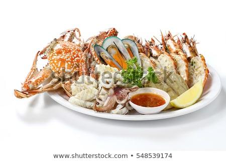 Szett különböző tengeri hal tányér lazac osztriga Stock fotó © furmanphoto