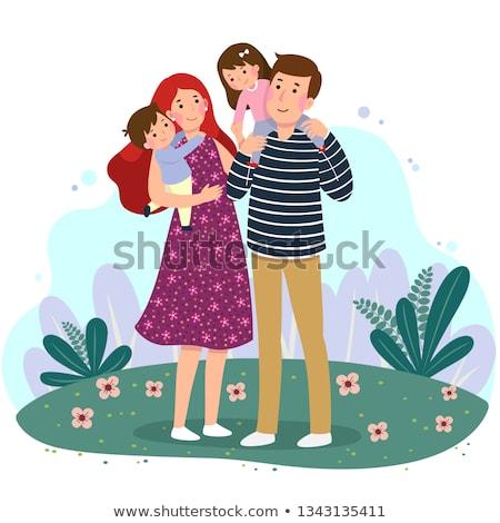 Férj feleség kettő gyerekek fiatal boldog család Stock fotó © ElenaBatkova