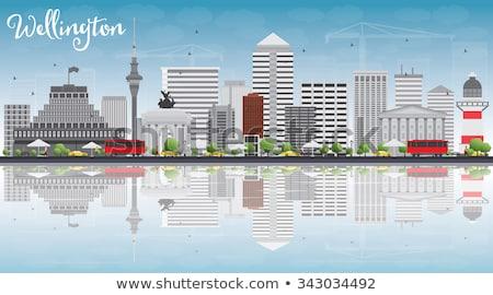 Wellington linha do horizonte cinza edifícios blue sky reflexões Foto stock © ShustrikS