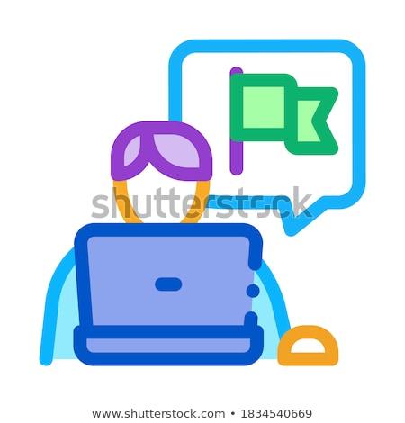 Gyakornok ikon vektor skicc illusztráció megbeszélés Stock fotó © pikepicture
