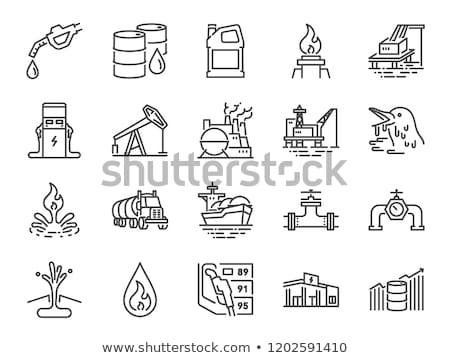 Offshore tankstation icon vector schets illustratie Stockfoto © pikepicture