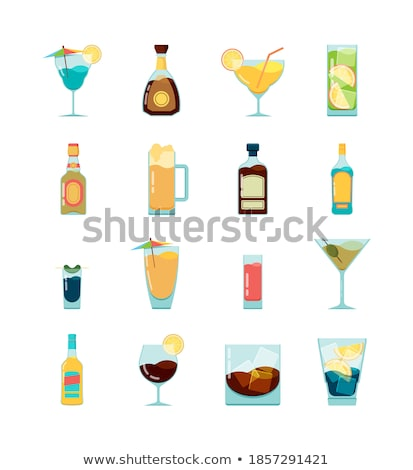 Various summer cocktails and strong alcohol drinks on white.Blue lagoon, martini, negroni, mojito, s Stock photo © DenisMArt