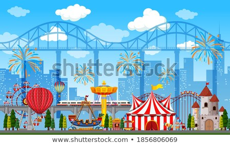Amusement park scene at daytime with fireworks in the sky Stock photo © bluering