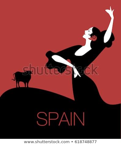 Flamenco illusztráció táncos zene utazás fekete Stock fotó © dayzeren
