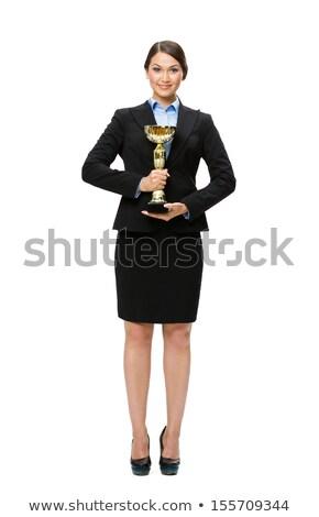 attractive girl in brown shirt Stock photo © fotoduki