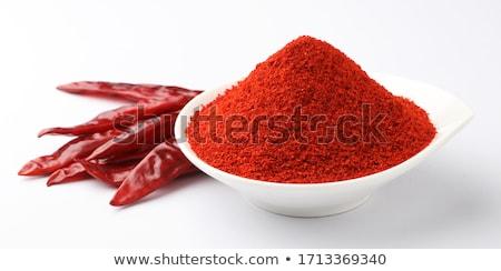 Kırmızı biber toz kaşık kırmızı yeşil Stok fotoğraf © toaster
