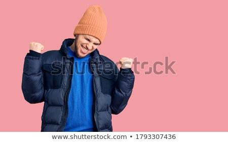 moço · sorridente · inverno · roupa · branco - foto stock © feedough