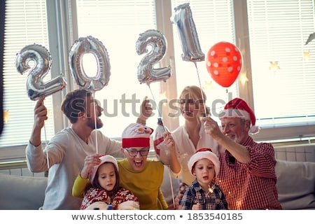 Család gyűlés új évek boldog otthon Stock fotó © photography33