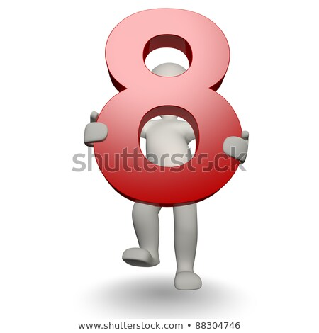 3D Human character holding number eight stock photo © Giashpee