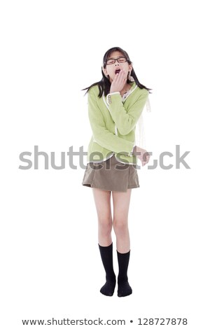 Girl in green sweater and glasses looking up, yawning Stock photo © jarenwicklund
