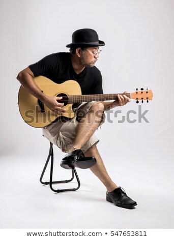 Supérieurs jazz musicien portrait guitare visage Photo stock © lunamarina