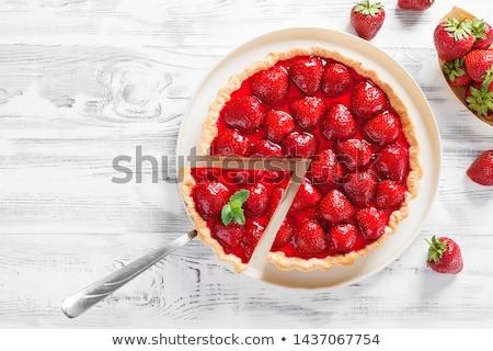 Pasta tatlı kek üst beyaz plaka Stok fotoğraf © MamaMia
