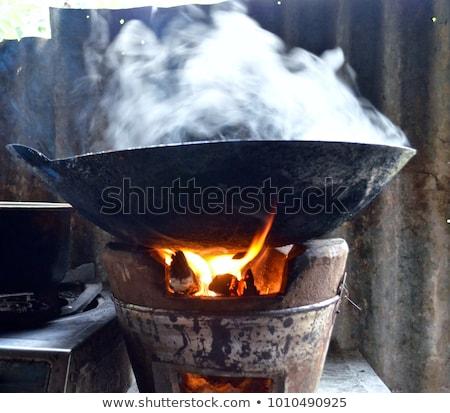 Stock fotó: Szabadtér · tűzifa · égő · kandalló · közelkép · tűz