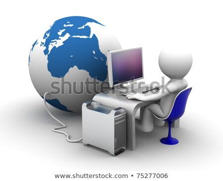Stock fotó: 3D · karakter · dolgozik · számítógép · földgömb · 3d · illusztráció