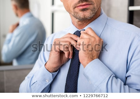 Businessman tying necktie Stock photo © stevanovicigor