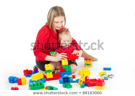 interested baby with toy block Stock photo © gewoldi
