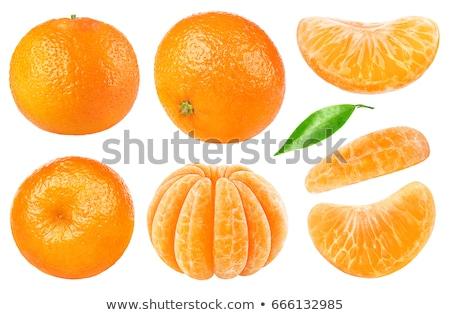 Hámozott mandarin izolált fehér bőr eszik Stock fotó © natika