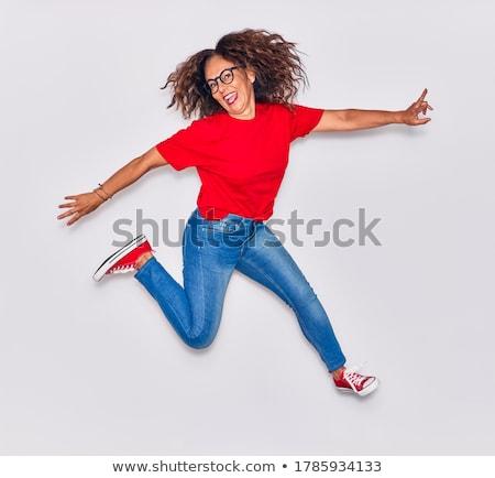 シニア 女性 ジャンプ 空気 空 春 ストックフォト © monkey_business