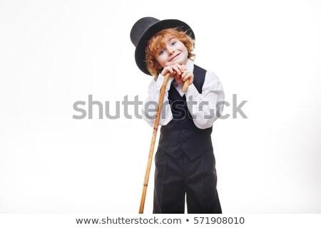 Weinig jongen hoed zwart pak geïsoleerd witte Stockfoto © Nejron