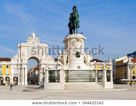 commerce · vierkante · Lissabon · Portugal · landschap · Blauw - stockfoto © capturelight