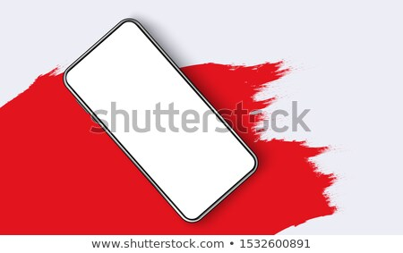 graffiti · telefon · piros · kék - stock fotó © kimmit