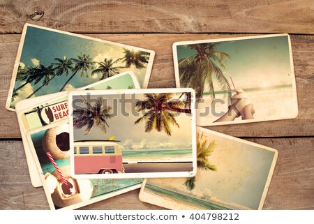 vintage camera on wooden background with retro filter effect stock photo © happydancing