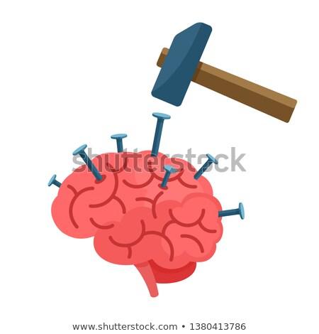 Foto stock: Martillo · unas · cerebro · humano · ilustración · aislado · televisión