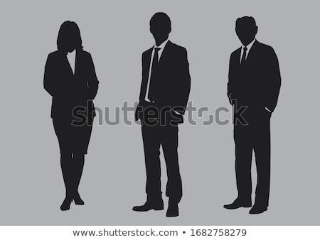 Stałego biznesmen sylwetka szary kolor włosy Zdjęcia stock © aliaksandra