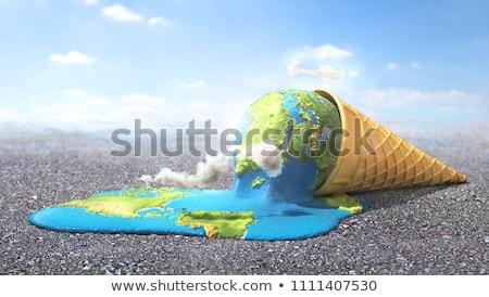 Dondurma toprak küresel isınma dünya harita doğa Stok fotoğraf © alexmillos