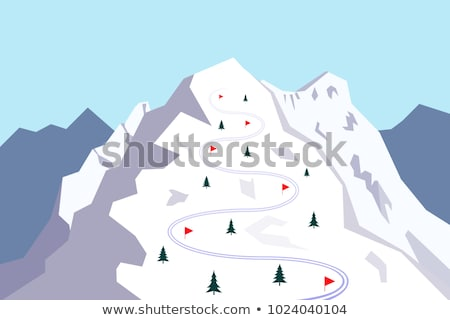 Ski-track in mountain forest Stock photo © mahout