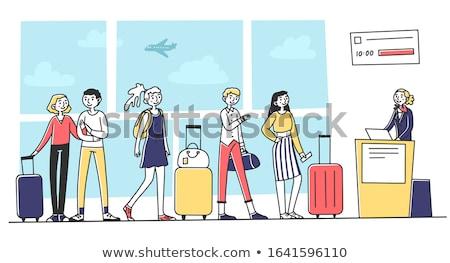 Beszállás csomagok illusztráció repülőtér bőrönd csekk Stock fotó © adrenalina