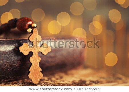 Wooden Cross and Defocused Lights Stock photo © enterlinedesign