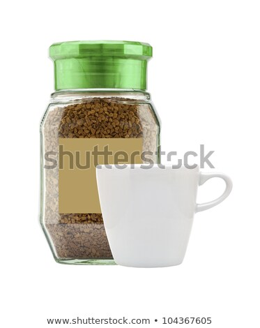 Instant coffee in glass bank-fragrant and white cup isolated on  Stock photo © tetkoren