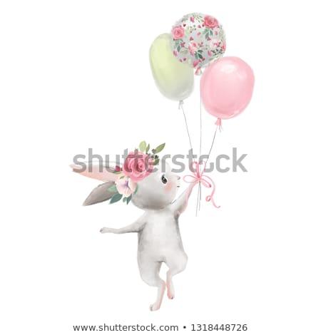 vízfesték · karakter · léggömbök · virágok · kéz · szív - stock fotó © artibelka