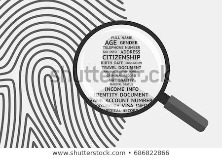 ujj · személyi · igazolvány · azonosítás · ujjlenyomat · tetoválás · vonalkód - stock fotó © lightsource
