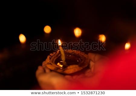 Nő tart petróleumlámpa diwali mosolyog boldogság Stock fotó © imagedb