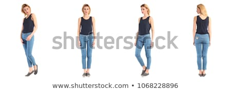 Pretty woman in blue jeans  isolated on white Stock photo © Elnur